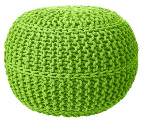 100% COTTON ROUND FOOT STOOL BRAIDED HANDMADE CUSHION DOUBLE KNITTED POUFFE GREEN COLOUR